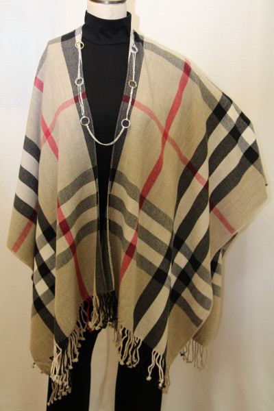 Traditional Combination Plaid Woman's Wrap Cape Shawl
