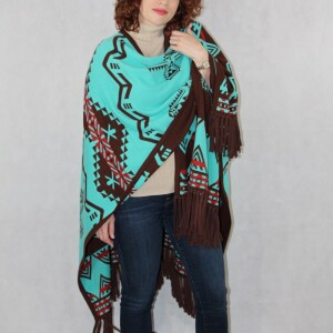 Southwest Reversible Tuyrquoise/Brown Women's Wrap