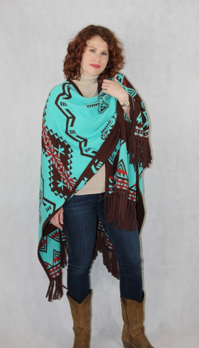 Brown/Tuquoise Southwest Reversible Ruana