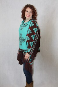 Brown/Turquoise Southwest Ruana
