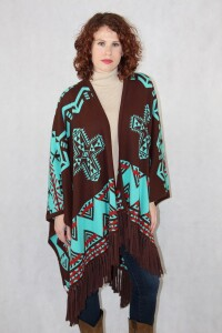 Brown/turquoise Southwest Reversible Ruana