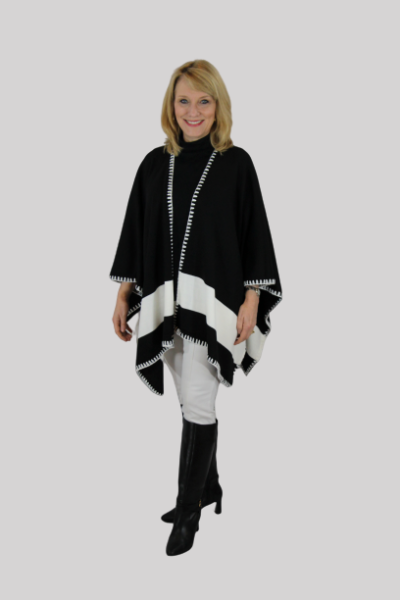 Estephy White/Black banded womens wrap