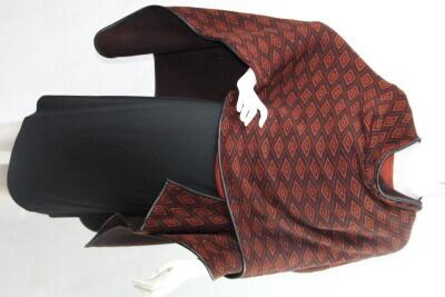 Eleanor Reversible women's ruana shawl wrap trimmed in leather.