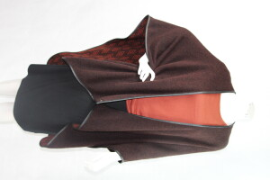 Eleanor Reversible women's ruana shawl wrap trimmed in leather.