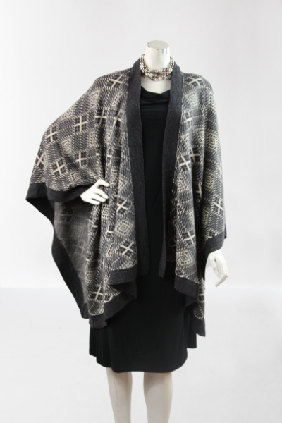 Super soft womens wrap shawl knitted with banded edge and beautiful design
