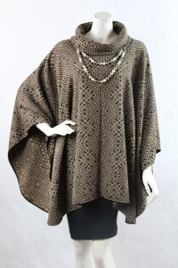 Amalia women's poncho woven with intricate design.