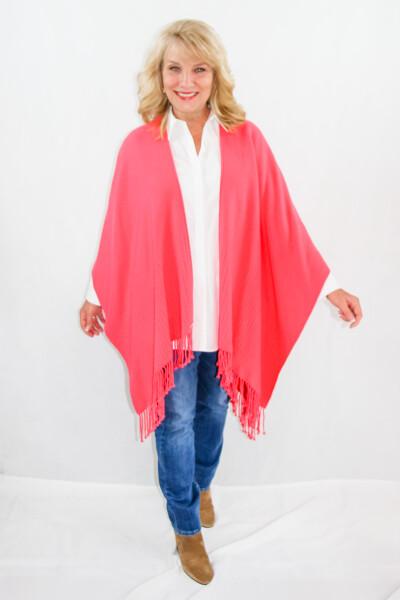 Signature Line womens shawl, wrap cape with fringe - Hibiscus