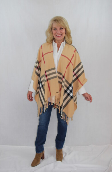 Plaid Traditional women's woven shawl, wrap ruana with fringed edging