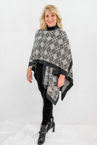 Sasha Women's Knitted Shawl Wrap with diamond pattern weave