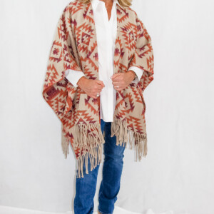 Cripple Creek - Southwest woven womens shawl ruana with fringe