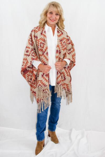 Cripple Creek - Southwest woven womens shawl ruana with fringe