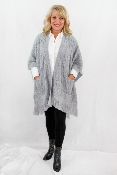 Emma Knitted womens wrap with pockets