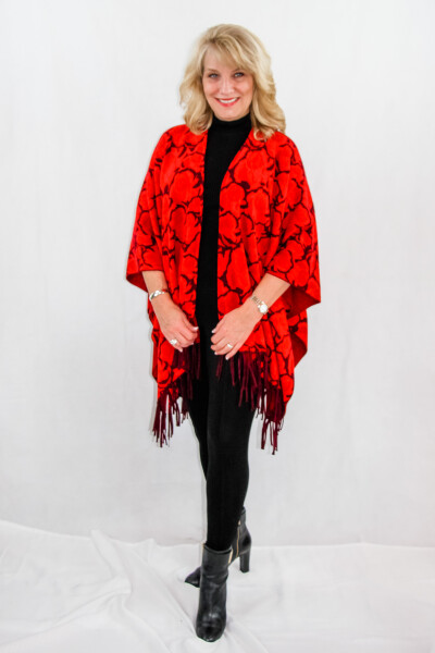 Floral Knitted women's shawl with fringe