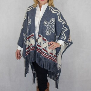 Southwest Womens Reversible shawl with frings